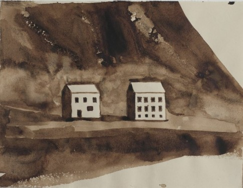 William MacKendree, Two Houses, 2008, encre sur papier, 27 x 35 cm