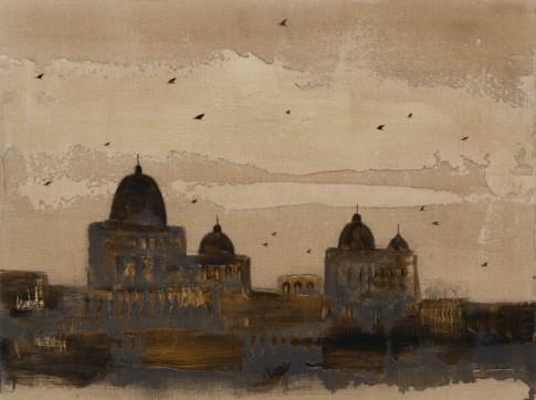 """Piero Pizzi Cannella, """"Cattedrale"""", 2014, technique mixte sur toile, 60 x 80 cm"""