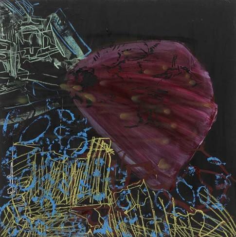 Sans titre, 2015, technique mixte sur masonite, 122 x 122 cm