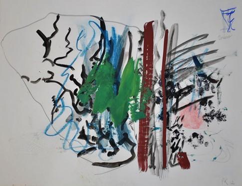 Sans titre (Poulene), 2012, gouache, craie de cire sur  papier Ingres, 50 x 65 cm