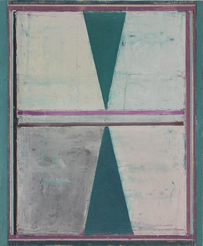 Pius Fox, DSC6467,o.T., Schattenstreifen, 2012, huile sur papier, 46x38cm